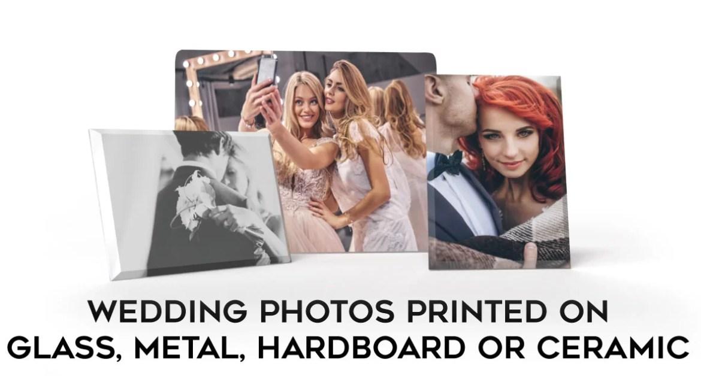 Wedding photos printed on glass, metal, hardboard & tile