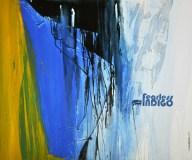 FEARLESS INDIGO, 100 x 120 cm