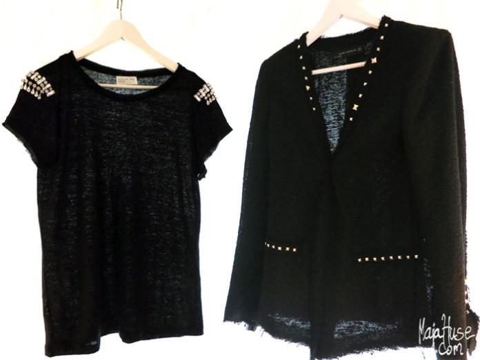 embellished black t-shirt and black studded blazer