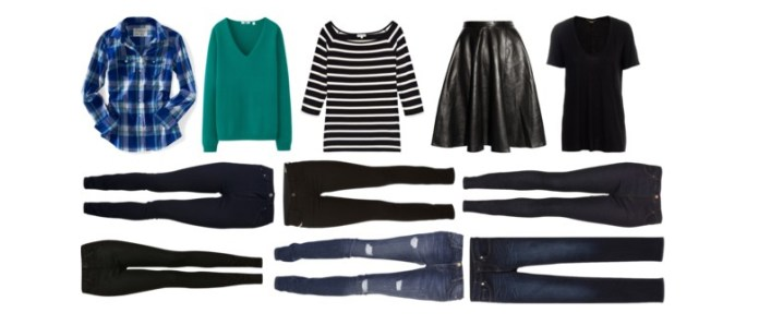 Flat lay of jeans, tops and a skirt