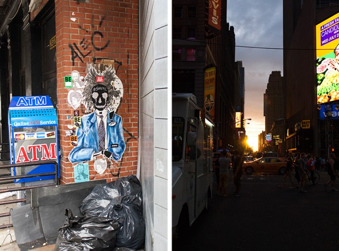 Graffiti and sunset at Manhattanhenge