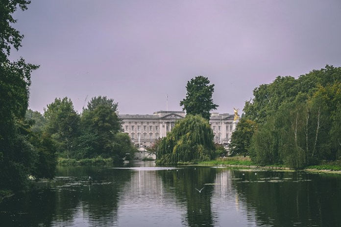 View of Buckingham Palace from St. James's Park in London