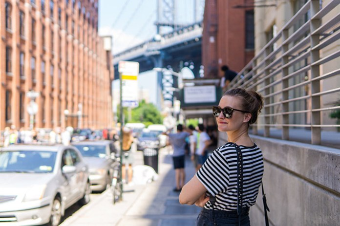 Maja on Brooklyn street facing the Brooklyn Bridge