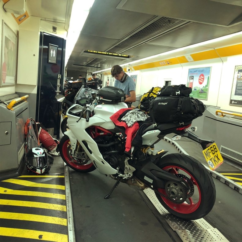 On board of the Channel Tunnel train with a motorcycle.