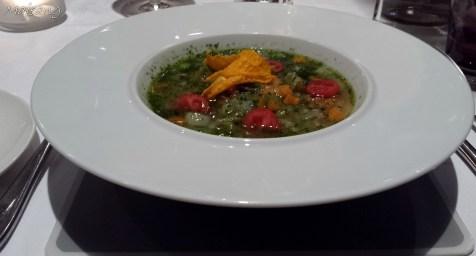 Vegetable pesto soup