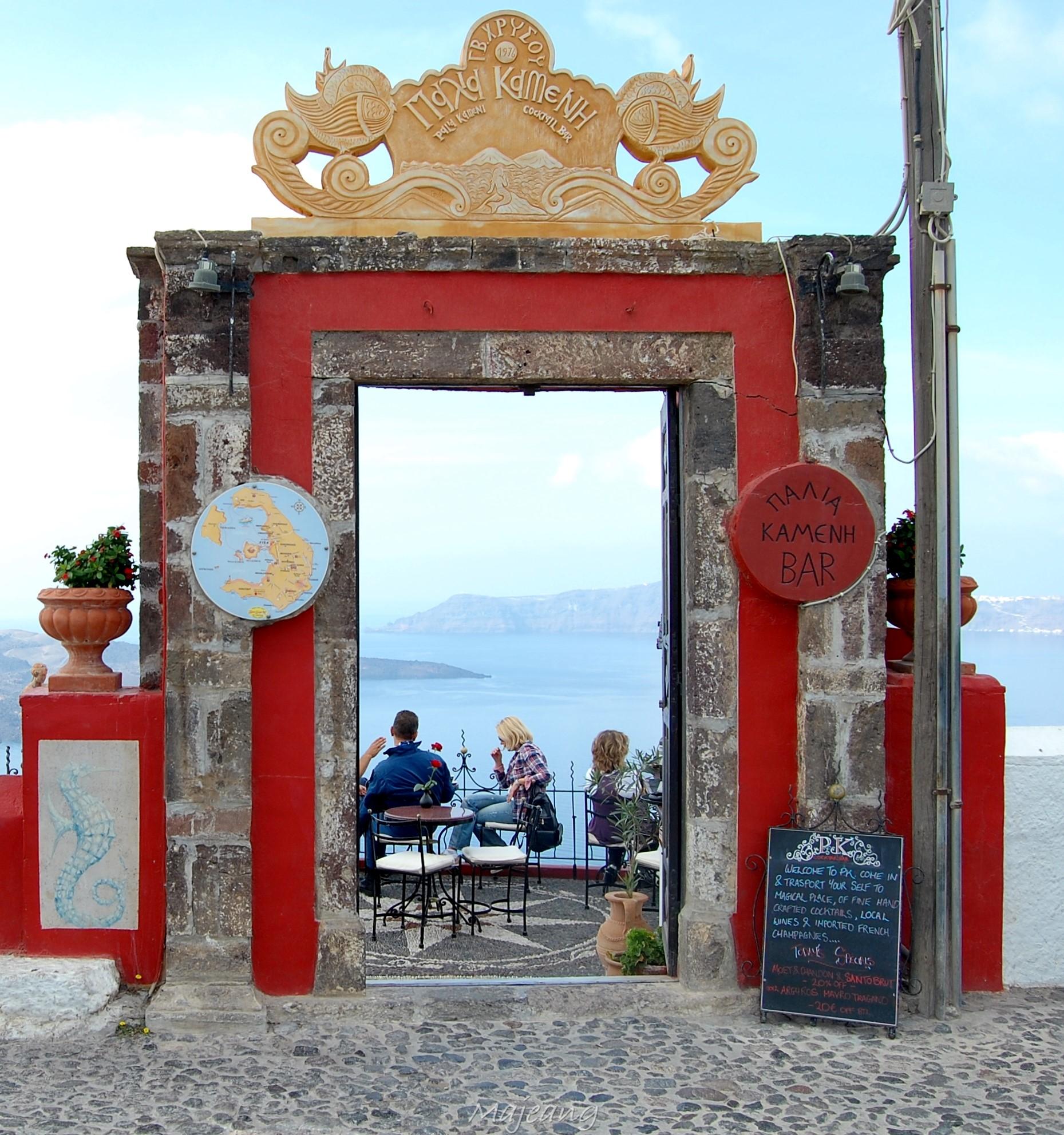Door way to lounge bar Fira