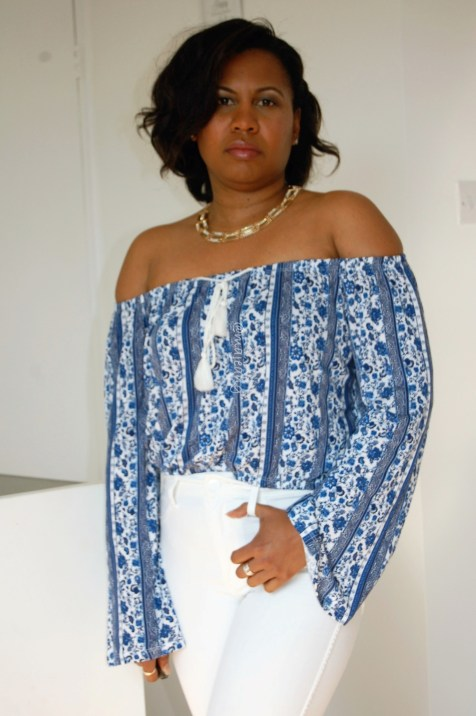 blue and white pattern off the shoulder top