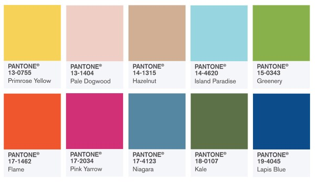 spring summer 2017 colours panatone