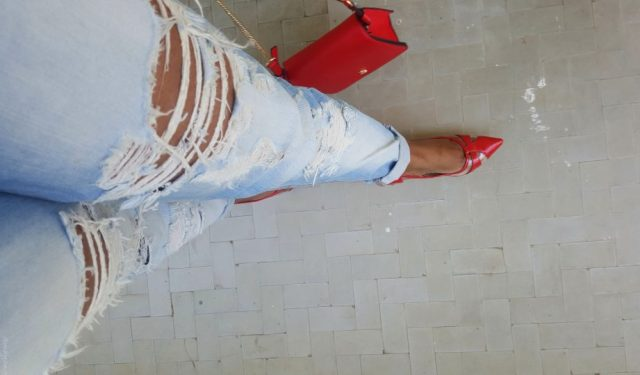 denim and red ootd shoes and bag