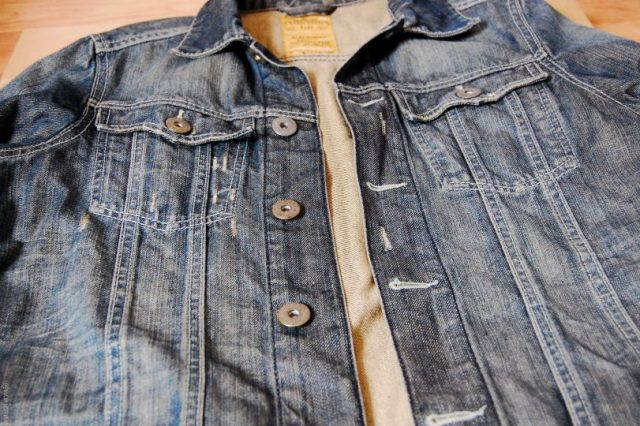 denim jacket diy- before patches