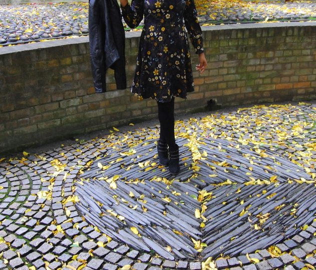 winter floral dress - shoes