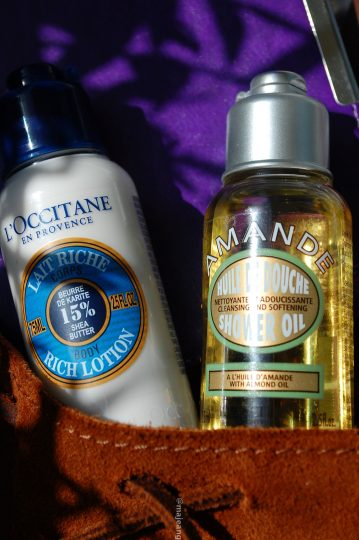 skincare on the go - l'occitane shower oil and body lotion