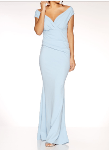 wedding guest outfit ideas- blue crepe maxi dress quiz clothing