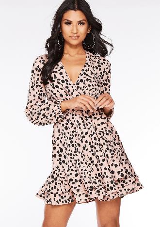 spring dresses under £35 by quiz clothing- dalmation print wrap dress