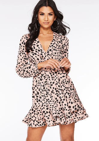 spring dresses under £35 by quiz clothing- dalmation print wrap dress