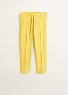 spring edit mango essential range- mustard trousers