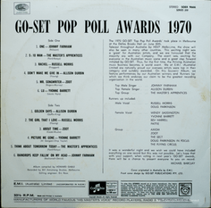 EMI - SOEX 9666 - GoSet Pop Poll Awards 70 - Back cover