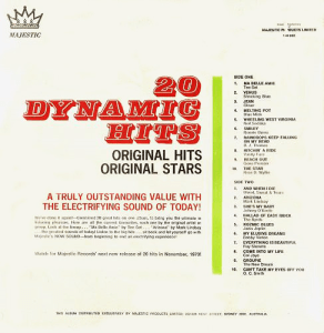 Majestic - Dynamic Hits - DH810 - Back cover