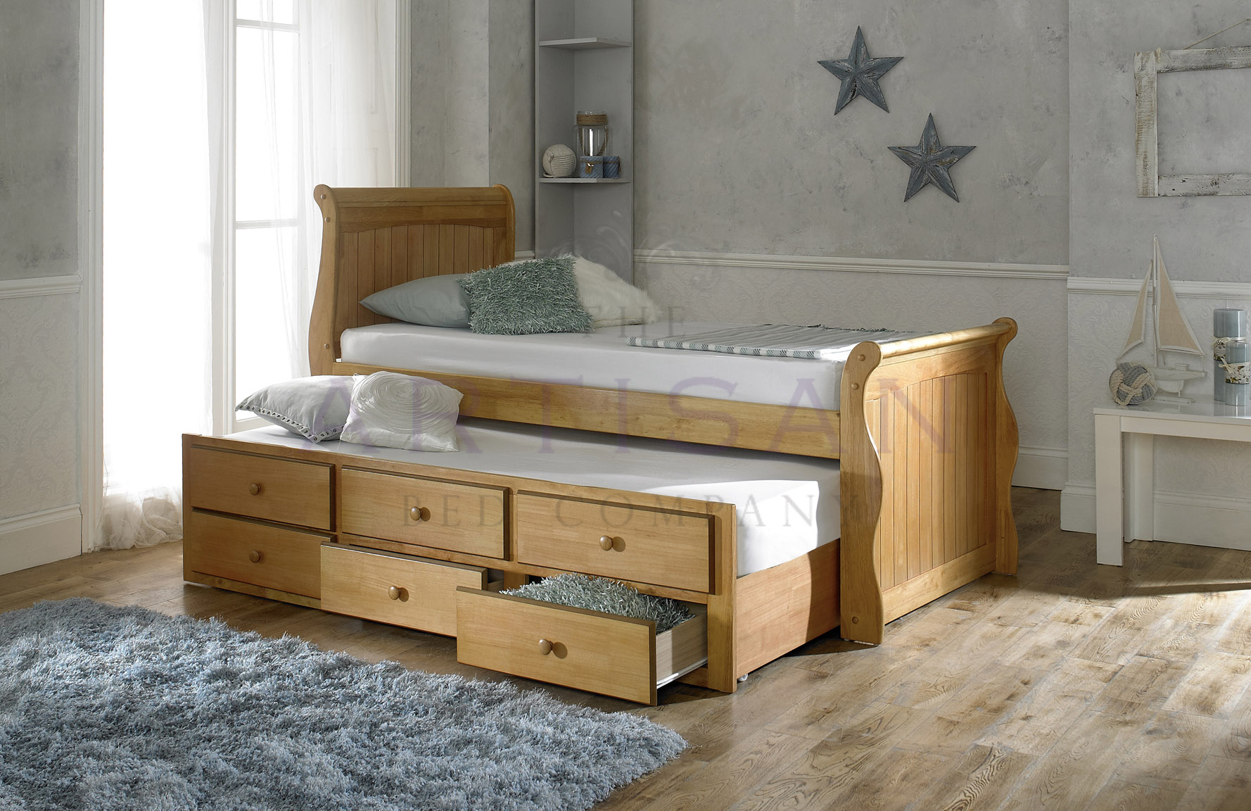 Oak Captain Bed Guest Trundle Bed Inc 3 Drawers Majestic Furnishings