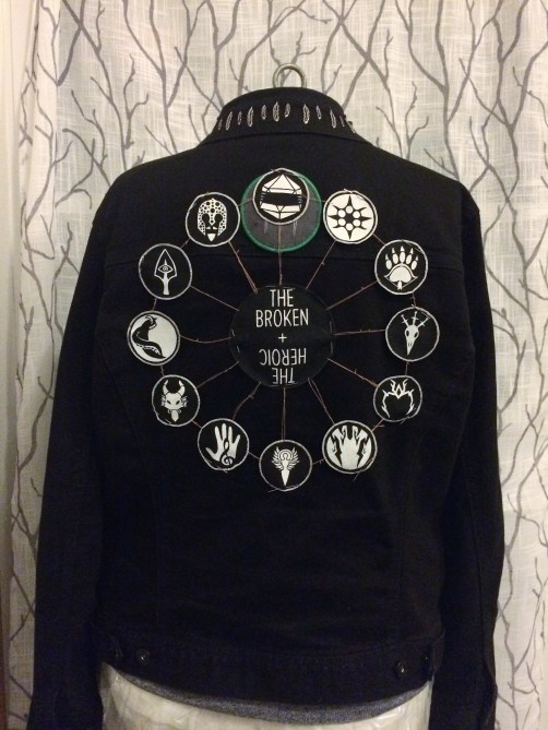 Patch web tacked to the jacket