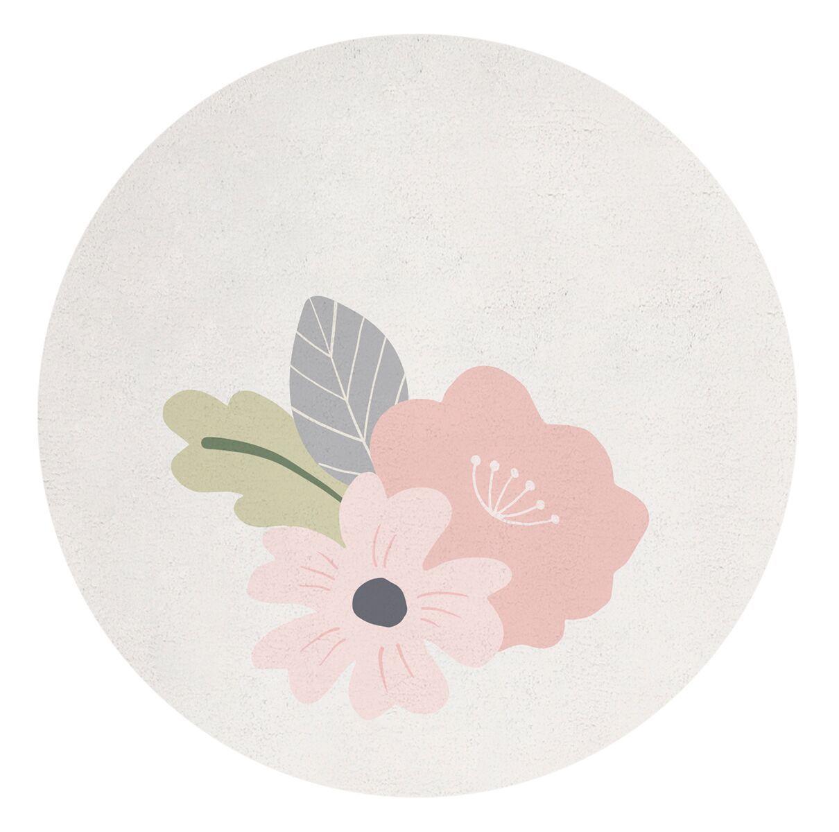 tapis rond coton tropical flower lilipinso majoliechambre