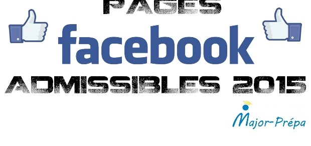 Pages Facebook Admissibles 2015