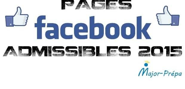 Pages Facebook Admissibles 2015