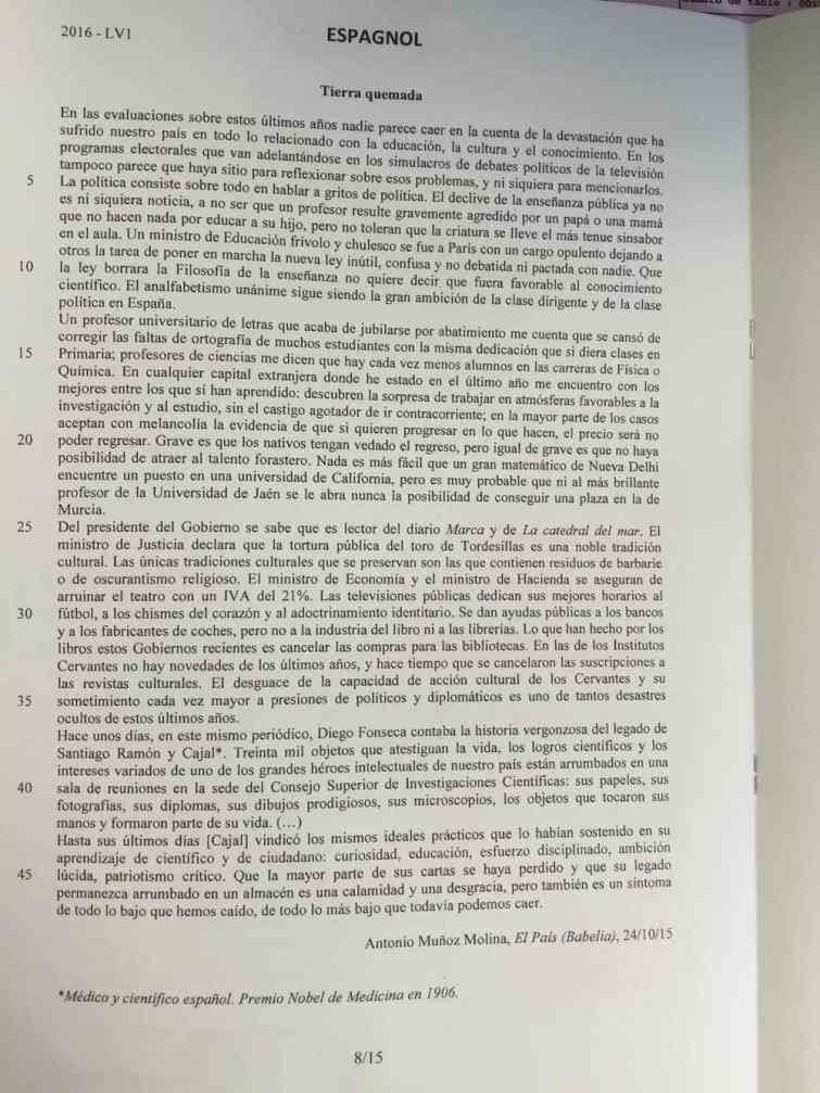 LV1 Espagnol IENA 2016 - Page 1