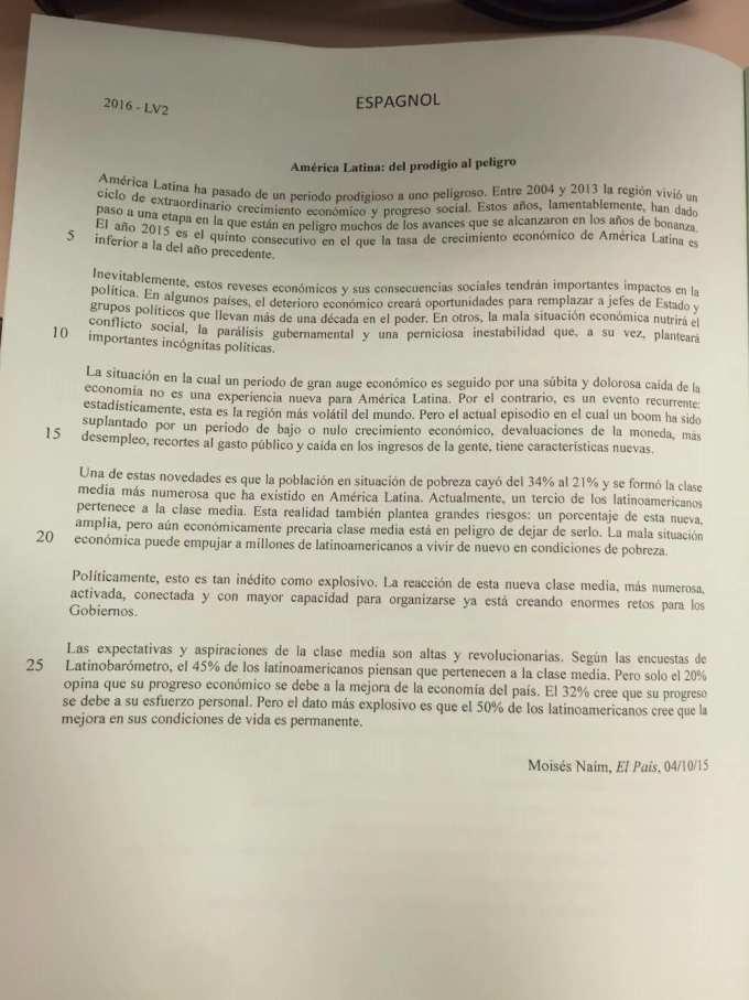 LV2 Espagnol IENA 2016 - Page 1