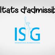 Résultats d'admissibilités ISG 2019