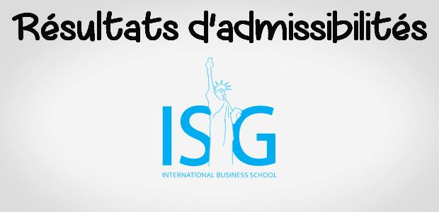 Résultats d'admissibilités ISG 2018