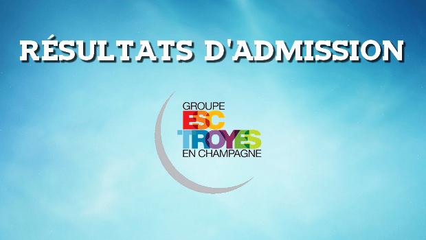 Résultats d'admissions ESC Troyes 2016