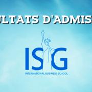 Résultats d'admissions ISG 2016
