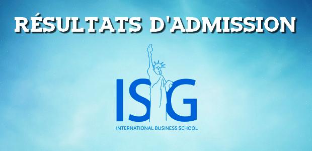 Résultats d'admissions ISG 2018