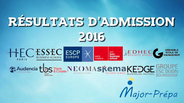 Dates et liens des résultats d'admissions 2016 BCE et Ecricome