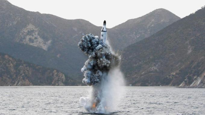 FILE PHOTO - An underwater test-firing of a strategic submarine ballistic missile is seen in this undated photo released by North Korea's Korean Central News Agency (KCNA) in Pyongyang on April 24, 2016. KCNA/File Photo via REUTERS. ATTENTION EDITORS - THIS IMAGE WAS PROVIDED BY A THIRD PARTY. EDITORIAL USE ONLY. REUTERS IS UNABLE TO INDEPENDENTLY VERIFY THIS IMAGE. SOUTH KOREA OUT. TPX IMAGES OF THE DAY - RTX2MRM0