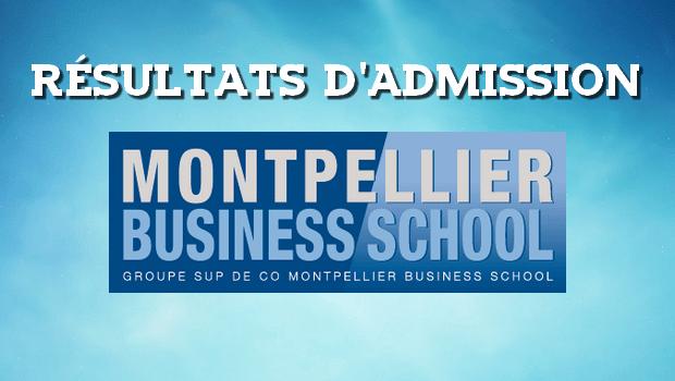 Résultats d'admissions Montpellier BS 2017