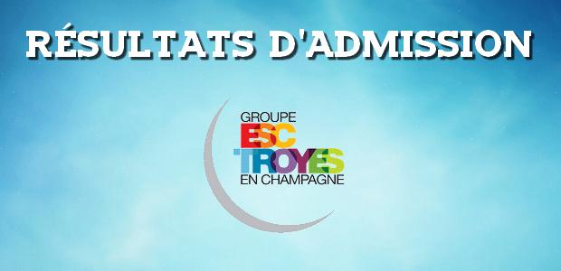 Résultats d'admissions ESC Troyes 2017