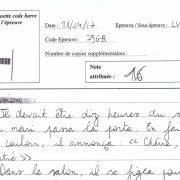 Une copie d'anglais LV1 CCIP ayant obtenu 16/20