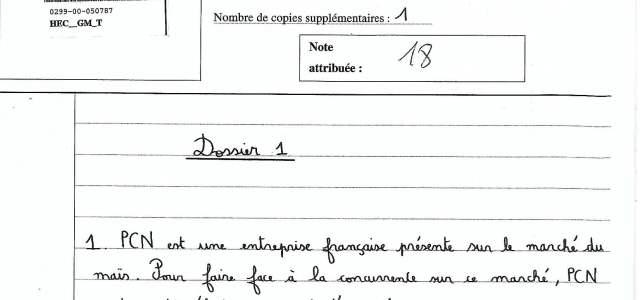 Analyse d'une copie management HEC notée 18/20