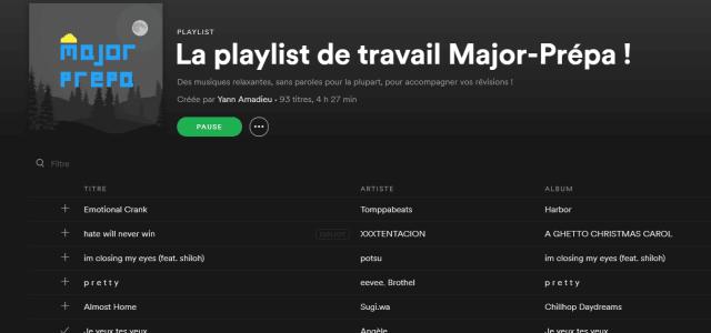 La playlist de travail Major-Prépa ! (Spotify)