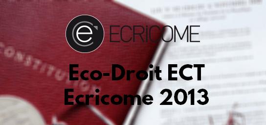 Eco Droit Ecricome 2013 – Sujet