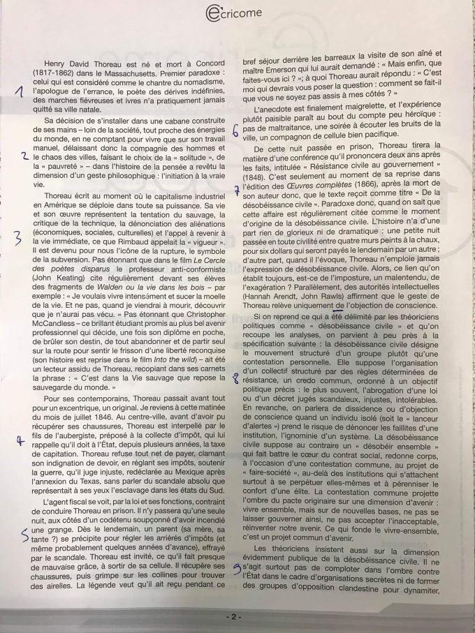 Sujet résumé de texte Ecricome 1
