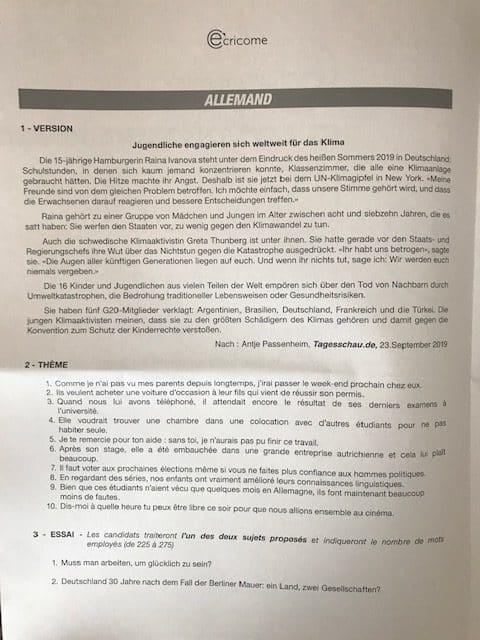 Allemand ECRICOME LV2 2020
