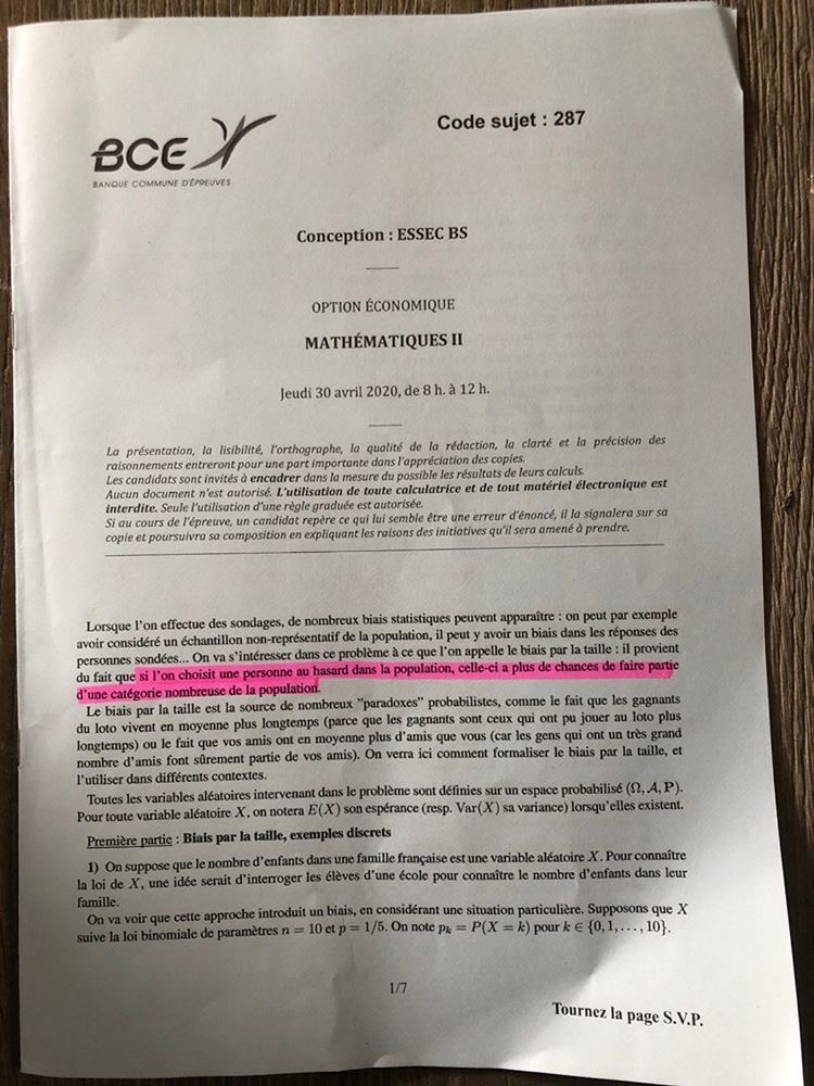 ESSEC ECE maths 2020