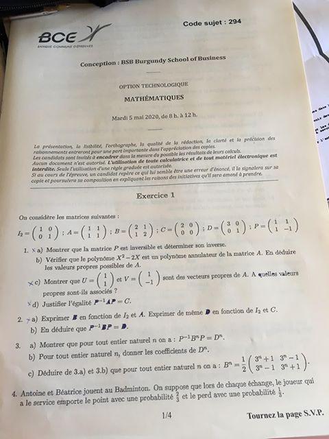 sujet maths BSB ECT 2020 1