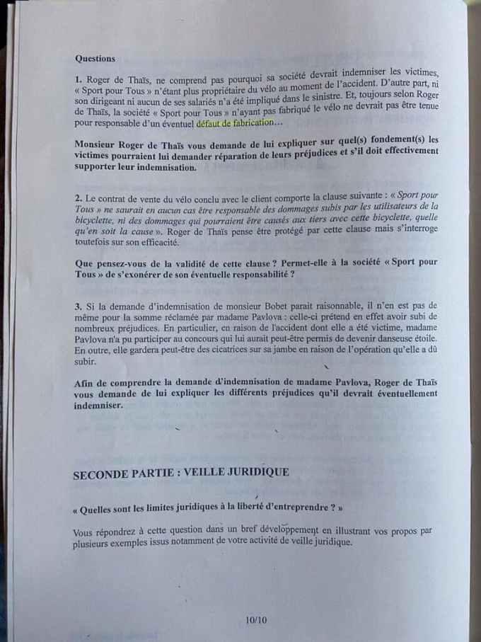 sujet Eco-Droit ESSEC 2021