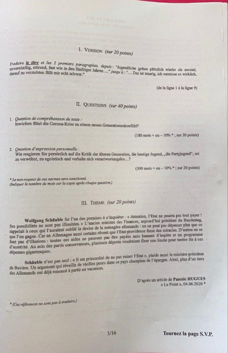 sujet LV1 Allemand IENA 2021