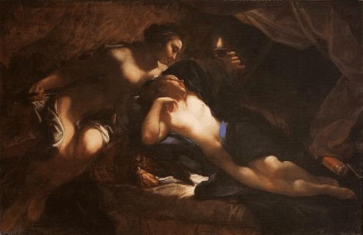 Psyché découvre Éros : peinture de Benedetto Lutti - 1720