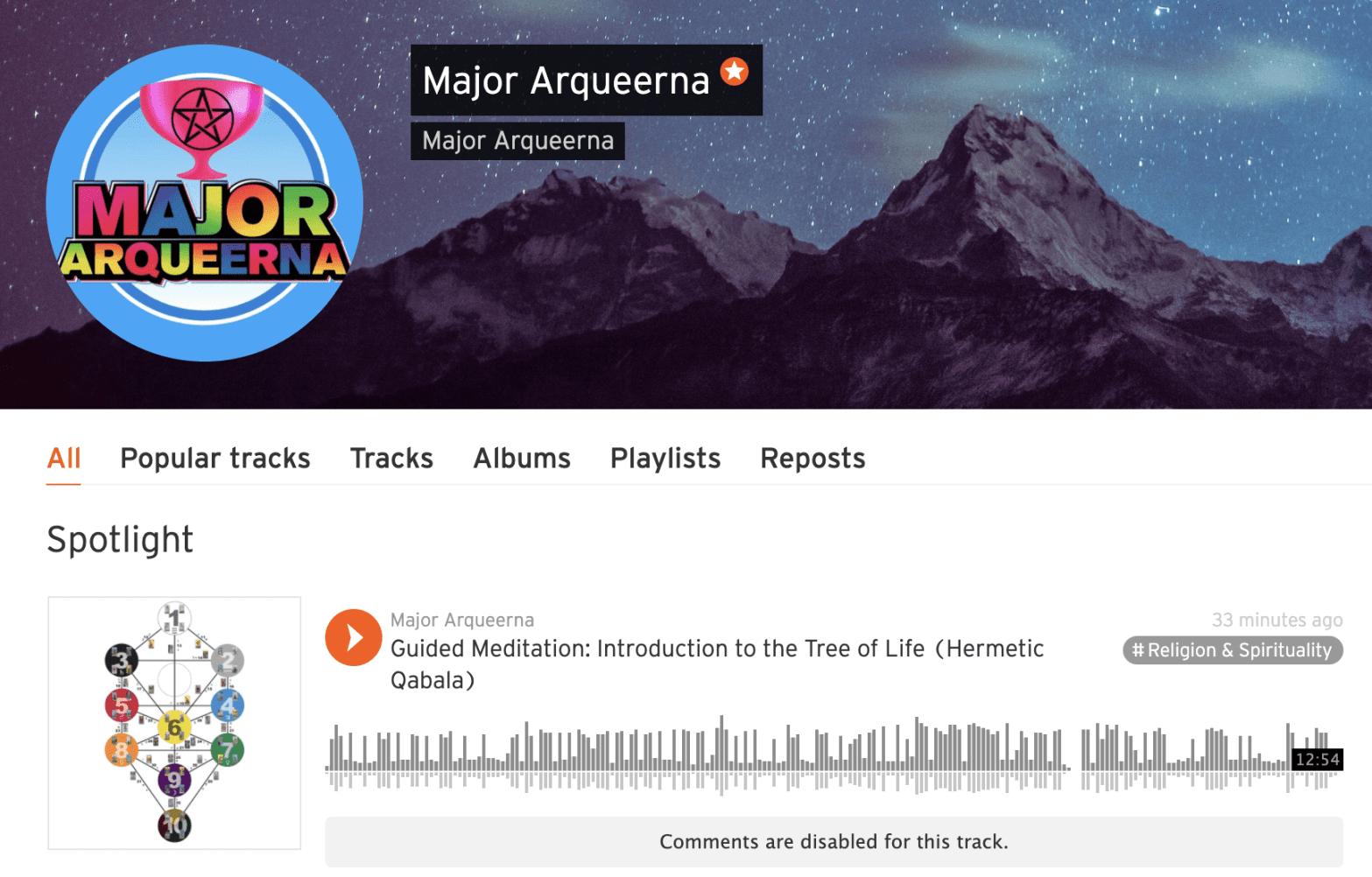Screenshot of Soundcloud